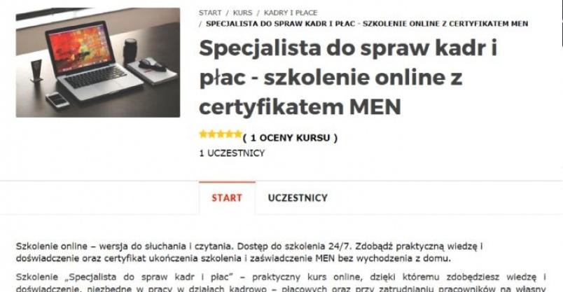 Kurs Specjalista ds. kadr i płac z zaśw. MEN Kliknięcie w obrazek spowoduje wyświetlenie jego powiększenia