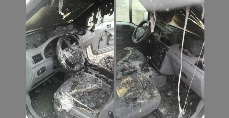 Pożar samochodu – interwencja dzielnicowego Kliknięcie w obrazek spowoduje wyświetlenie jego powiększenia